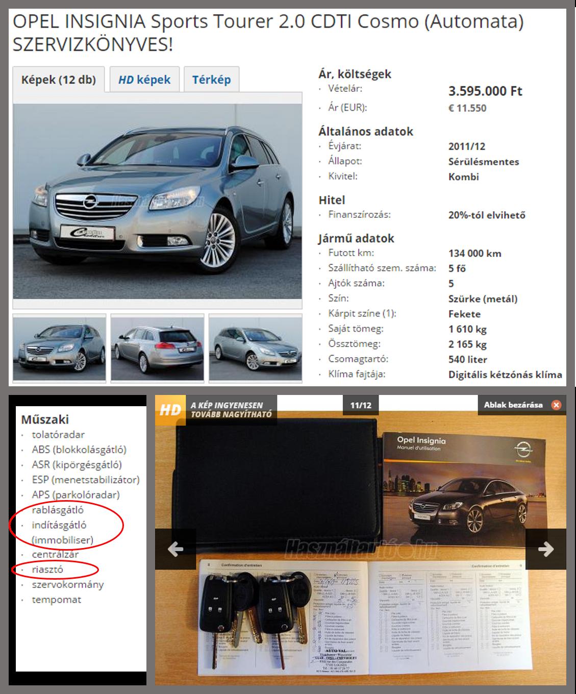 Használt auto hirdetés